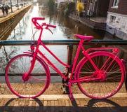 Σταθμευμένος στα φωτεινά ρόδινα ποδήλατα οδών πόλεων στην ηλιόλουστη κινηματογράφηση σε πρώτο πλάνο evenig στοκ φωτογραφίες
