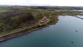 Σταθμός για την κατάδυση Dalniye Zelentsy κατά την εναέρια άποψη Θαλασσών του Μπάρεντς φιλμ μικρού μήκους