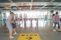 Σταθμός μετρό Shajiang της γραμμής 11 μετρό Shenzhen Στοκ Εικόνες