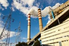 Σταθμός παραγωγής ηλεκτρικού ρεύματος άνθρακα στην Πολωνία. Στοκ Φωτογραφίες