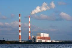 σταθμός παραγωγής ηλεκτρικού ρεύματος βιομηχανίας οικολογίας θερμικός Στοκ Φωτογραφία