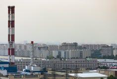 σταθμός παραγωγής ηλεκτρικού ρεύματος βιομηχανίας οικολογίας θερμικός Στοκ Εικόνες