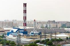 σταθμός παραγωγής ηλεκτρικού ρεύματος βιομηχανίας οικολογίας θερμικός Στοκ φωτογραφία με δικαίωμα ελεύθερης χρήσης