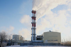 σταθμός παραγωγής ηλεκτρικού ρεύματος βιομηχανίας οικολογίας θερμικός Στοκ Εικόνα