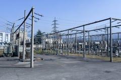 Σταθμός παραγωγής ηλεκτρικού ρεύματος για την παραγωγή της ηλεκτρικής ενέργειας στο Λουγκάνο Στοκ Εικόνα