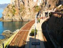 Σταθμός τρένου θάλασσας Manarola Στοκ Φωτογραφία