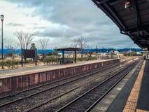 Σταθμός τρένου σε Aso, Ιαπωνία Στοκ Εικόνες