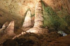 Σταλαγμίτες και σταλακτίτες στο εθνικό πάρκο σπηλαίων Carlsbad, ΗΠΑ στοκ εικόνες