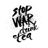 σταματήστε τον πόλεμο Handdrawn εγγραφή μελανιού βουρτσών απεικόνιση αποθεμάτων
