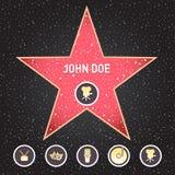 Σταρ του Χόλιγουντ Ο περίπατος του αστεριού φήμης με τα εμβλήματα συμβολίζει πέντε κατηγορίες Hollywood, διάσημο πεζοδρόμιο, δράσ απεικόνιση αποθεμάτων