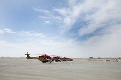 Στατική επίδειξη των ελικοπτέρων Sarang στο Μπαχρέιν διεθνές AI Στοκ Φωτογραφία