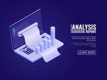 Στατιστικές ανάλυσης στοιχείων και πληροφοριών, διοίκηση επιχειρήσεων, διαταγή επιχειρησιακών στοιχείων, lap-top με το διάγραμμα  διανυσματική απεικόνιση