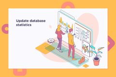 Στατιστικές βάσεων δεδομένων αναπροσαρμογών Ροή της δουλειάς και διοίκηση επιχειρήσεων τρισδιάστατη isometric διανυσματική απεικό στοκ φωτογραφίες