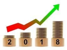 στατιστικές 2018 ετών με το βέλος Διανυσματική απεικόνιση