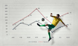 Στατιστικές ποδοσφαιρικών παιχνιδιών Μικτά μέσα Στοκ Εικόνα