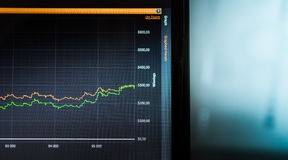 Στατιστικές όσον αφορά την οθόνη lap-top ως γραφική παράσταση Στατιστικές πόκερ Στοκ Φωτογραφίες