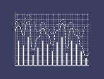 Στατιστικοί φραγμοί και διαστιγμένες καμπύλες στις συντεταγμένες διανυσματική απεικόνιση