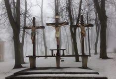 Σταυροί Ιησούς και οι δύο κλέφτες σε Calvary Διεθνές Shri Στοκ εικόνες με δικαίωμα ελεύθερης χρήσης
