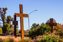 σταυροί τρία ξύλινοι στοκ φωτογραφία με δικαίωμα ελεύθερης χρήσης