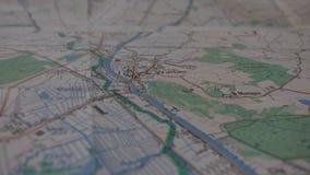 Σταυροδρόμια σε έναν χάρτη στοκ φωτογραφίες