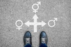 Σταυροδρόμι τριών τρόπων - άνδρας, γυναίκα ή transexual Στοκ Φωτογραφία