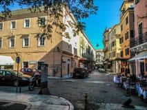 Σταυροδρόμι στο κέντρο της Κέρκυρας Στοκ φωτογραφία με δικαίωμα ελεύθερης χρήσης
