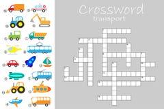 Σταυρόλεξο για τα παιδιά, διαφορετικό θέμα μεταφορών, παιχνίδι εκπαίδευσης διασκέδασης για τα παιδιά, προσχολική δραστηριότητα φύ απεικόνιση αποθεμάτων