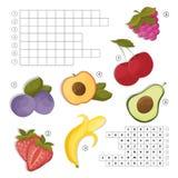 Σταυρόλεξο για την εκμάθηση των αγγλικών Βρείτε τα φρούτα και τις λέξεις μούρων Στοκ Φωτογραφίες