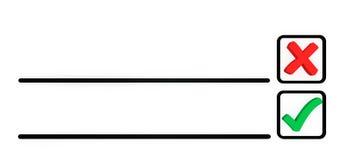 Σταυρός και ένας κρότωνας στον κατάλογο επιλογής προκειμένου Στοκ Εικόνες