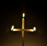 σταυρός κεριών Στοκ Εικόνες
