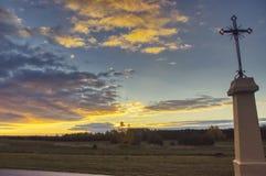 Σταυρός κράσπεδων το πρωί φθινοπώρου στοκ φωτογραφία