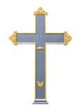 Σταυρός μετάλλων με το χρυσό πλαίσιο στοκ φωτογραφία