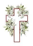 Σταυρός με τους άσπρους κρίνους διανυσματική απεικόνιση
