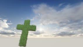 Σταυρός που γίνεται από τη χλόη ελεύθερη απεικόνιση δικαιώματος