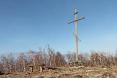 Σταυρός στη φαλακρή κορυφή του λόφου Στοκ Εικόνα