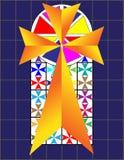Σταυρός στο ζωηρόχρωμο τοίχο Cristal στο ναό Στοκ Εικόνες