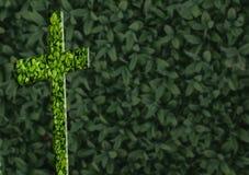 Σταυρός στο πράσινο υπόβαθρο Στοκ εικόνες με δικαίωμα ελεύθερης χρήσης