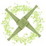 Σταυρός της Brigid σε ένα στεφάνι των πράσινων φύλλων Διανυσματική κάρτα προτύπων διακοπών Imbolc ειδωλολατρική ελεύθερη απεικόνιση δικαιώματος
