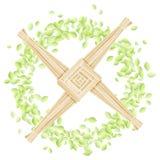 Σταυρός της Brigid σε ένα στεφάνι των φύλλων Διανυσματική κάρτα προτύπων διακοπών Imbolc ειδωλολατρική ελεύθερη απεικόνιση δικαιώματος