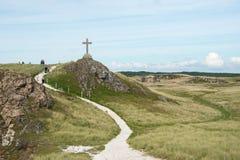 Σταυρός του ST Dwynwen ` s, ένα μνημείο στο νησί Llanddwyn σε Anglesey, βόρεια Ουαλία Στοκ φωτογραφία με δικαίωμα ελεύθερης χρήσης