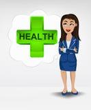 Σταυρός υγείας στην έννοια ιδέας φυσαλίδων της γυναίκας στο κοστούμι Στοκ Φωτογραφία