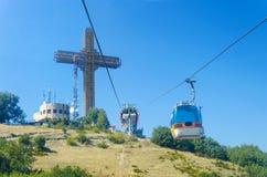 Σταυρός χιλιετίας στην αιχμή βουνών Vodno στοκ φωτογραφίες με δικαίωμα ελεύθερης χρήσης