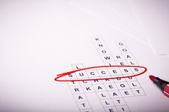 Σταυρόλεξο με επιτυχία λέξης Στοκ φωτογραφίες με δικαίωμα ελεύθερης χρήσης