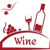 Σταφύλια, γυαλί και μπουκάλι του κρασιού Σχέδιο λογότυπων κρασιού Κόκκινο εμπορικό σήμα για την επιχείρηση ή την οινοποιία κρασιο διανυσματική απεικόνιση