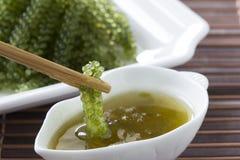 Σταφύλια θάλασσας ή πράσινη πικάντικης σάλτσα χαβιαριών και σε ένα άσπρο πιάτο στοκ εικόνες