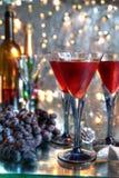 Σταφύλια και κόκκινο κρασί Στοκ Εικόνες
