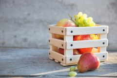 Σταφύλια, φρούτα αχλαδιών και μήλων σε ένα κιβώτιο Στοκ Φωτογραφίες