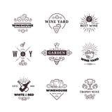Σταφύλι κατασκευής κρασιού Hipster διανυσματικές ετικέτες, λογότυπα, εμβλήματα καθορισμένα ελεύθερη απεικόνιση δικαιώματος