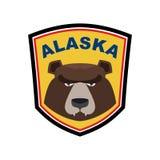 Σταχτιά μασκότ της Αλάσκας Αντέξτε το σημάδι εμβλημάτων Λογότυπο άγριων ζώων για το Al Στοκ Φωτογραφία