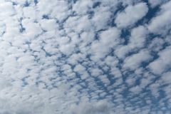 Στα άσπρα σύννεφα σωρειτών μπλε ουρανού που τακτοποιούνται σε ένα πλέγμα ή ένα σχέδιο Στοκ Φωτογραφία